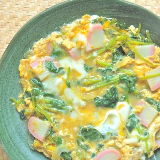 すぐ出来るあと一品!簡単、減塩、とろとろ〜三つ葉とかまぼこの卵とじ。
