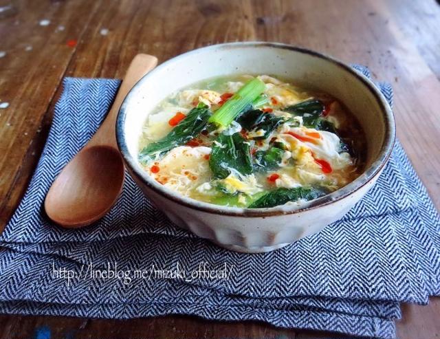 器に盛られた小松菜と卵のふわとろスープ