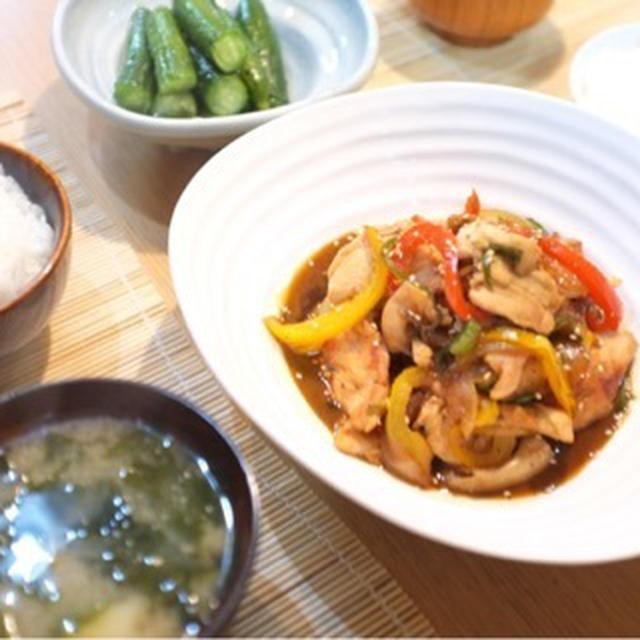 夕食☆鶏むね肉の生姜焼き 姫きゅうりのめんつゆ漬け 山芋とわかめのお味噌汁