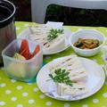 ■簡単な畑ランチ【焼きトマト入り 卵とハムのサンドと赤紫蘇ジュース&西瓜の漬物】です♪