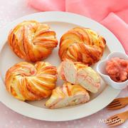 【パンレシピ】春を感じる♪♪桜餡とクリームチーズのパン