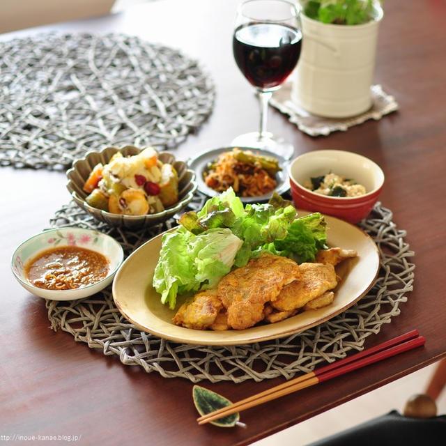 DELI風デザートサラダ【サツマイモと金柑のデザートサラダ】と【豚のピカタ○ピリ辛タレ添え】