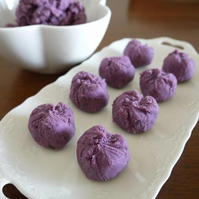 簡単!紫芋クリーム餡の茶巾絞り♪