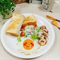 【お花の目玉焼き&炒飯&中華スープ&中華焼きそば&厚揚げとこんにゃく&シロナと薄揚げのサッと煮】