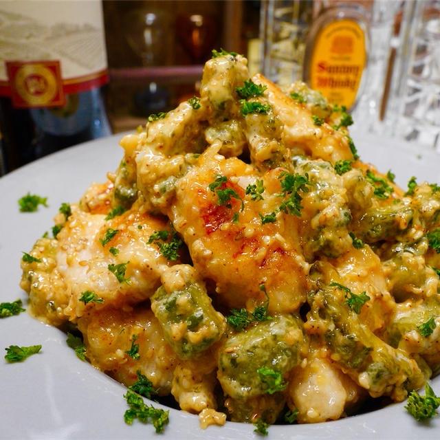 【レシピ】鶏むね肉とゴーヤのガーリックごまマヨ和え