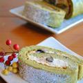 黒豆リメイク!きなこチーズクリームの抹茶ロールケーキ ☆