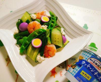 低糖質!春野菜とカッテージチーズの華やかサラダ