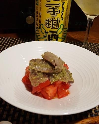 ラワンぶきの前菜3種、壬生菜と茗荷の青海苔昆布茶浸し、鰯とトマトのしし唐ジェノベーゼ
