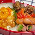 【お弁当】お弁当作り/bento/甘酢玉子丼/なんちゃってメンチカツ《アラフィフ旦那弁当》