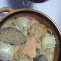☆リメイク☆鮭&きのこのトマトカルボナーラのスパグラタン♪