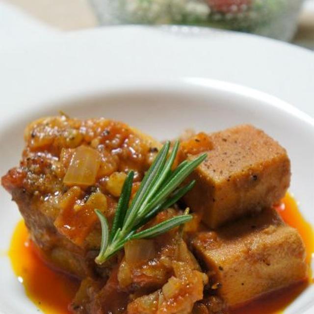 高野豆腐の豚バラトマト煮込み。バルサミコ風味