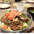 ガーリックトマトのっけ焼肉サラダ丼 by りさママさん