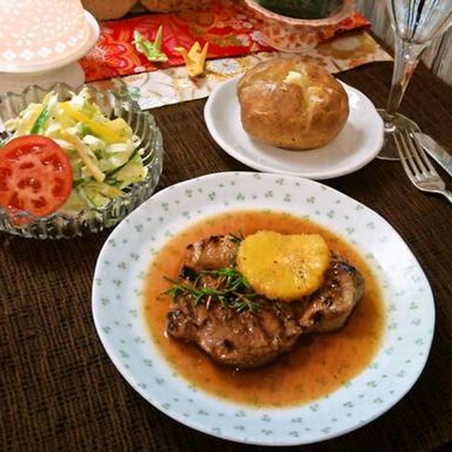 ポークロースステーキ in オレンジソース ~ フレッシュオレンジ&リキュール