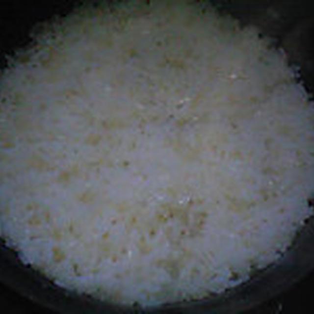 湯立てで白米(937)。。。北海道石狩平野砂川産特別栽培米ゆめぴりか・白米(あいざわ米店)と茨城県産うまかっぺコシヒカリ玄米・新米(あいざわ米店)