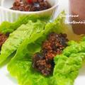 茄子の肉味噌レタス包み  お茄子で肉味噌がアッサリ美味しーヘルシー♪   &タコ焼き器でパリパリスナック