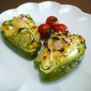 【簡単レシピ】ピーマンのマカロニサラダ詰め♪