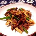 舞茸とにんにくの芽&牛肉の甜麺醤炒め