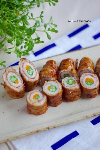 節約レシピ♡彩り野菜の豚巻きちくわ*Keyの大人の振る舞い。