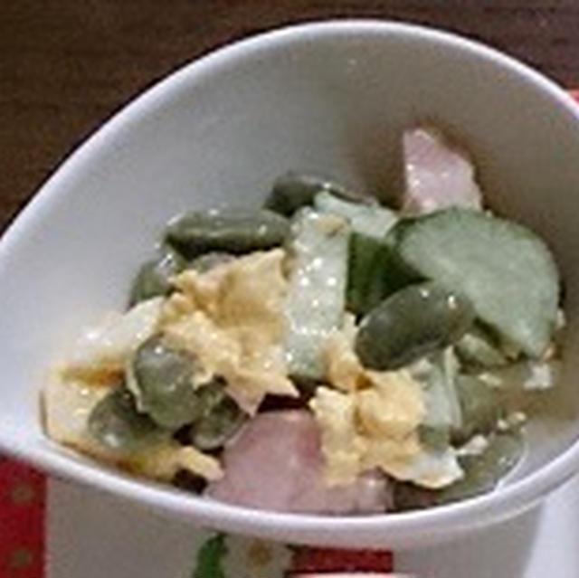 昨日の晩ご飯。と黒豆の枝豆サラダ。