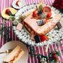 苺チョコとピスタチーオクリームのケーキ