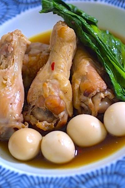 手羽元とたまごのピリ辛煮☆グリルで焼いて程よい脂と香ばしさ