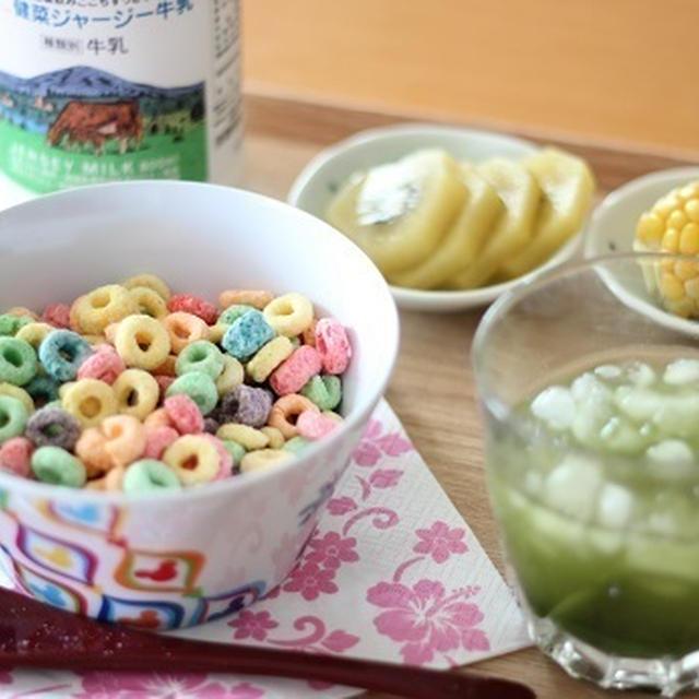 朝ごはん*シリアル&青汁