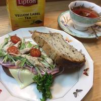 ひらめき朝食✨五穀パンでトーストサンド