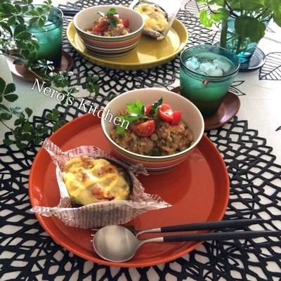 雑穀とセロリとミニトマトのリゾット・アボカドのチーズグリル♪