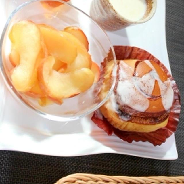 冷凍パン★シナモンロールとはちみつりんごの甘露煮