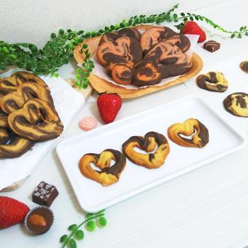 ココアのマーブルクッキー❤【ホットケーキミックスで絞り出しクッキー】