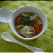 エスニック風 エビワンタンスープ