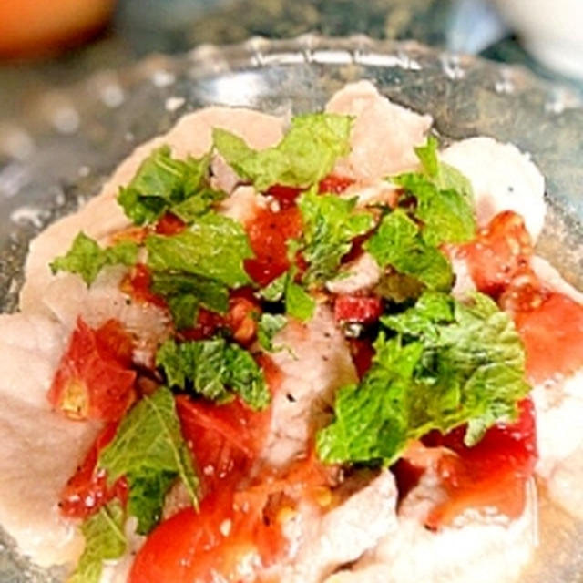 レンジで簡単☆塩麹豚肉のトマトドレッシングマリネ