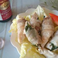 赤ワインテイストに合うささみの豚バラ巻きソテー