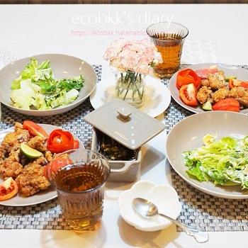 お花と夜ご飯の記録/My Homemade Dinner with Flowers/อาหารมื้อดึกที่ทำเอง