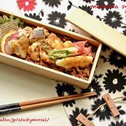 7/24 テンペと野菜の天丼べんとう。