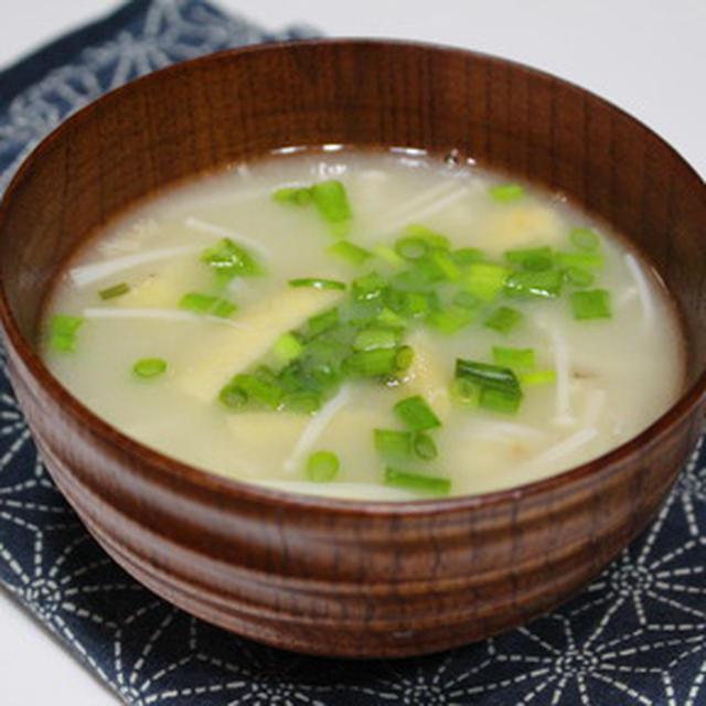 365日レシピNo.310「えのき茸と油揚げの味噌汁」