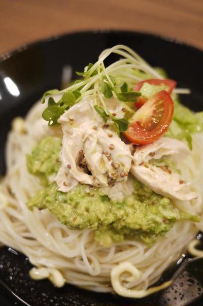 (79)アボガドと鶏ささみのマヨ素麺