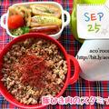 今日は主婦休みの日【次男弁当】豚ひき肉のスタミナ丼【晩ごはん】焼き魚(こまい)