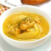 サフラン香る鶏もも肉の豆乳スープ煮