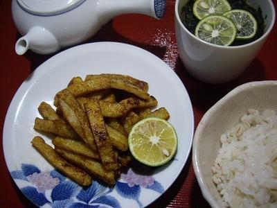 平天のすだち醤油焼き&麦飯茶漬け/15分でエースシルエット弁当