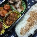 鶏肉の塩ダレ照り煮と椎茸入りエビチリの中学生のお弁当