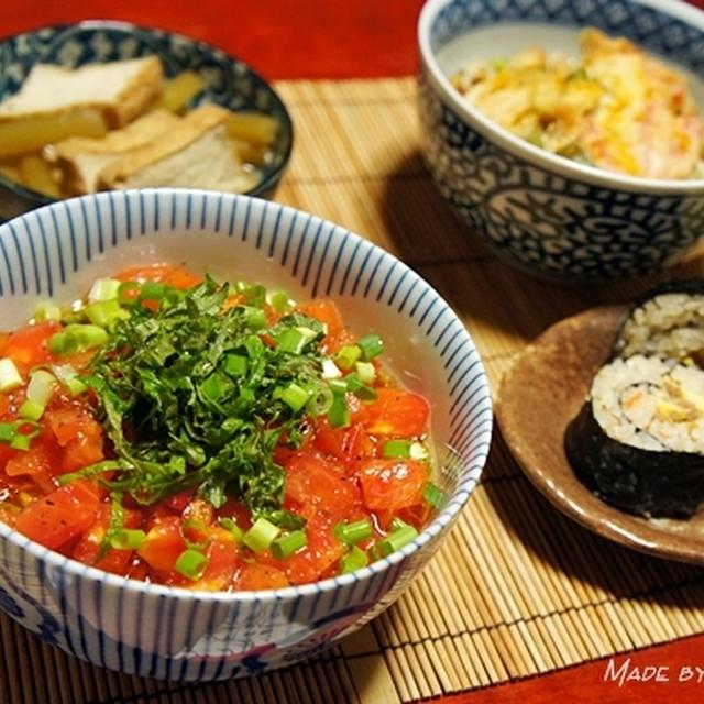 冷製トマト冷麦と残り物リメイク晩ご飯