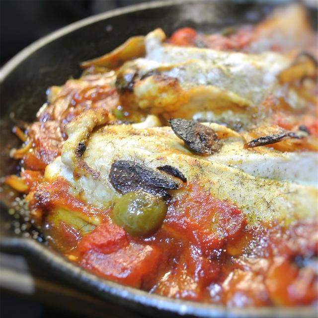 魚卵(白子)のトマト煮、アヒージョ風