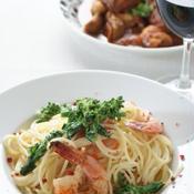 菜の花と海老のクリームスパゲッティ