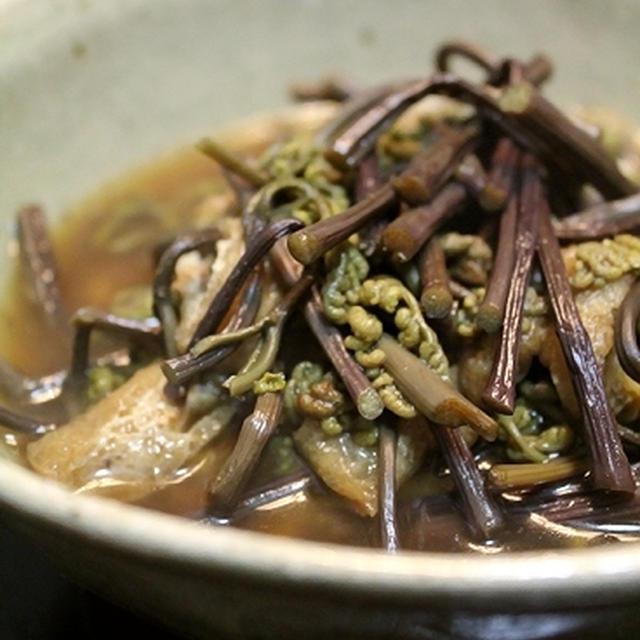 蕨と油揚げの、薄味煮