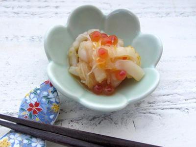 レシピ*お刺身のツマを活用!イカとイクラの柚子和え