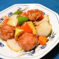 バルサミコ酢豚。小間切れ肉と生ハムで柔らかジューシー。