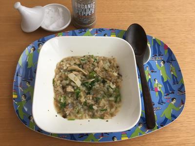 お粥風リゾット その⑥ 秋刀魚とキノコ