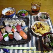 【夕食】握り寿司盛り合わせ&ばってら・惣菜天ぷら ・れんこんきんぴら…