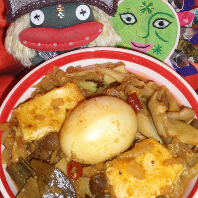 (スリランカ風)キノコと卵のチーズカレー&長芋と茗荷の梅しらすサラダ(お家カフェ)
